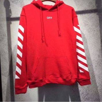 LMFONHA OFF WHITE Classic Hooded Fashion Print Top Sweater Hoodie