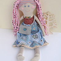 Soft Doll Toy – Handmade Rag Doll Gift for Girl or Boy – Retro Style Textile Doll – Fabric Doll, Cloth Doll, Linen Doll Gift for Daughter
