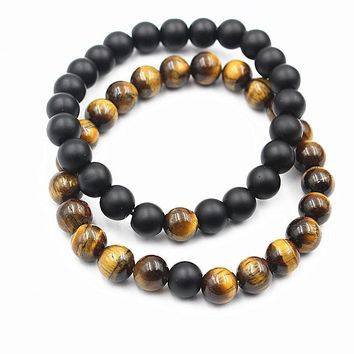 Tiger's Eye And Black Gemstone Distance Bracelets