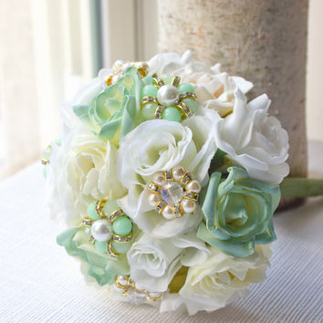 Mint Bridesmaid And Bridal Bouquet Spring Wedding
