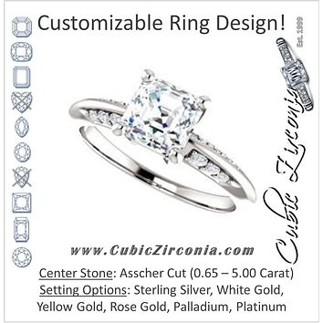 Cubic Zirconia Engagement Ring- The Savannah (Customizable Asscher Cut Artisan Design with Knife-Edged, Inset-Accent 3-sided Band)