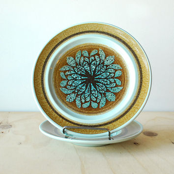 Franciscan Nut Tree Side Plate and Saucer Set Aqua Blue and Brown Retro Kitsch