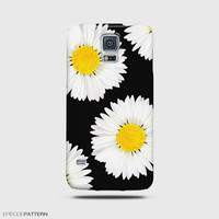 Samsung Galaxy S5 Case, Galaxy Note 4 Case, Galaxy Mini S5 Daisy Flower On Black