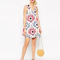 ASOS | ASOS Shift Dress in Mirror Floral Print at ASOS