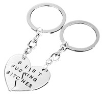 New 1Pair Best Friend Charm Broken Keyring Heart Pendant Key Chain Best Bitches Keychain Silver color Gifts For Girls
