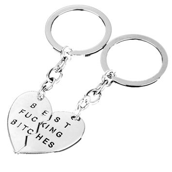 Best Friend Charm Broken Keyring Heart Pendant Key Chain Best Bitches Keychain Silver color Gifts For Girls SM6