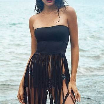 Irgus Swimwear Black Bandeau Style Lace-Up Back with Fringe Skirt Beach Dress Cover-Up