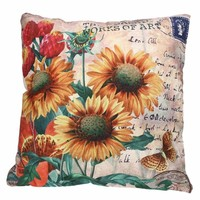 "Sun Flower Cotton Linen Pillowcase Cushion Cover Home Decorative Throw Pillow Case  17""x17"""