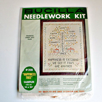 Vintage Bucilla Sampler Happiness Tree Cross Stitch Kit Needlework Kit 2696 Large Size 16 Inches X 20 Inches DIY  Unopened