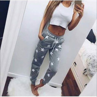 Gagaopt 2016 Spring Autumn Loose Casual Pants Print Star Sweat pants Women Harem track pant Long Trousers High Quality Plus Size