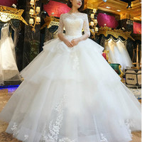 china wedding dresses princess puffy half lace sleeves bridal dresses