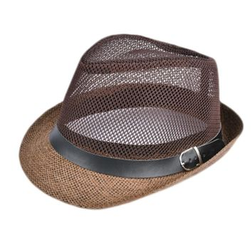 Summer Straw Bucket Hat For Male Jazz Visor Cap For Gentleman Dad Hat Mesh Flat Homburg Beach Hat