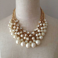 Beaded Pearl Necklace, Statement Necklac, Bridesmaid Necklace, Bib Necklace, Gold Double Chain Necklace