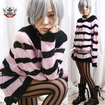NANA Punk Ladder Sweater Jumper Baby Rose Pink 6 STRIPE
