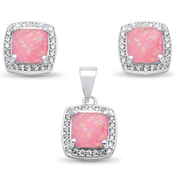 Cushion Cut Pink Opal & White Topaz Earrings & Pendant Set