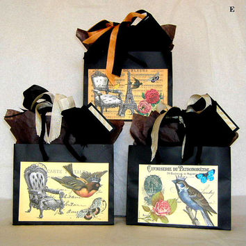 Three Mini Reproduction Vintage French Post Card Gift Bags Paris Favor Bags with Birds, Ribbon, Tags, and Tissue