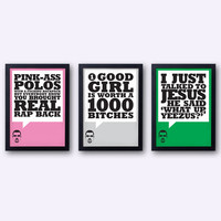 KANYE WEST - Yeezus lyrics poster set! I Am A God - Jay Z - typographical print 20% OFF!