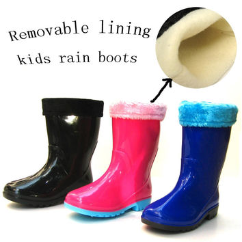 2015 winter children's rain boots for boys girls removable cotton padded  warm rubber shoes  kids toddlers PVC Rubber snow boots