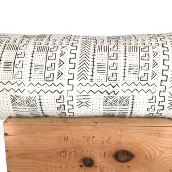 16x36 Inch White African Mudcloth Pillow, Mud Cloth Pillow Cover, Lumbar Pillow