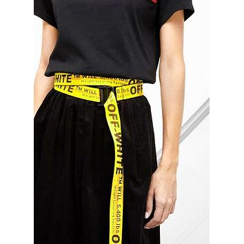 Off-White Belt Extra long Personality Mash up Trendy Fashion Belt Belt High Quality Yellow