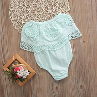 2017 Cute Newborn Baby Girl Lace Summer Sleeveless  Bodysuit Clothes One Pieces Baby Girl Outfits 0-18M