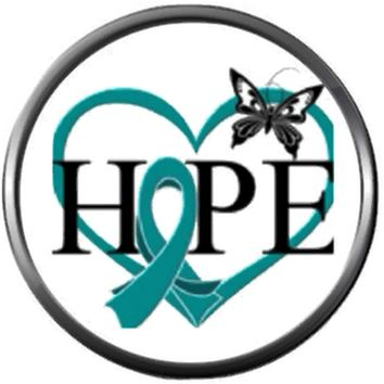 Butterfly Heart Hope Ovarian Cancer Teal Ribbon Support Awareness Believe Find Cure 18MM - 20MM Snap Jewelry Charm New Item