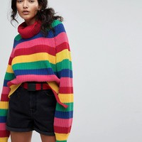 Lazy Oaf Roll Neck Knitted Jumper In Rainbow Stripe at asos.com