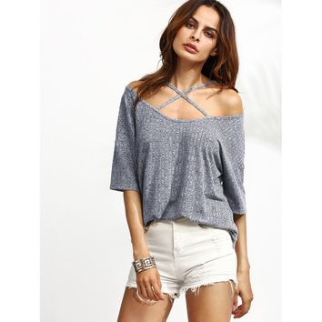 Crisscross Cold Shoulder Marled Knit Ribbed Tee
