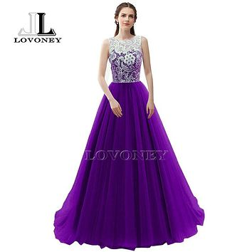 LOVONEY Robe De Soiree A-Line O-Neck Floor-Length Tulle Lace Long Evening Dresses Formal Dress Gown S304