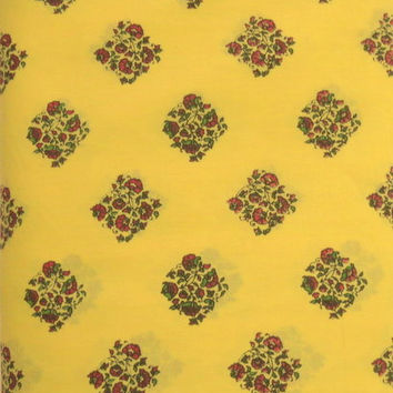 1 yard India Cotton Fabric/Natural Vegetable Dyes for Dresses,CurtainYellow Base with Red flower and Green Leaves Jaipur Sanganeri Printed