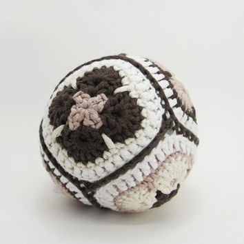 Organic crochet toy rattle ball african flower - organic cotton - brown, beige and white