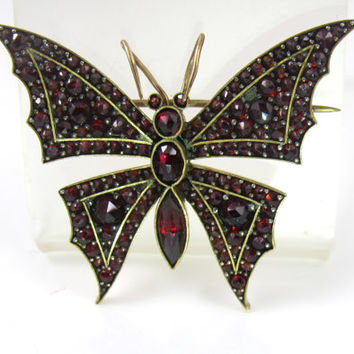 Victorian Bohemian Garnet Butterfly Brooch, Antique Insect Moth Rose Cut Garnet Jewelry, January Birthstone