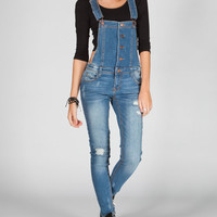 Tinseltown Womens Destructed Overalls Medium Wash  In Sizes