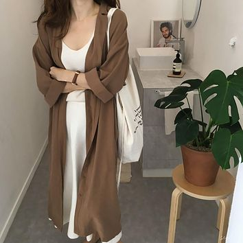 Solid Single-breasted Turn-down Collar Long Sleeve Trench Coat