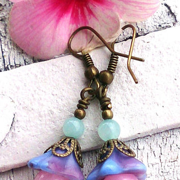 Pastel Jade Earrings Antique Bronze Earrings GEMSTONE EARRINGS Trumpet Flower Earrings