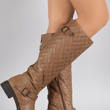 Buckled Quilted Shaft Round Toe Riding Knee High Boots