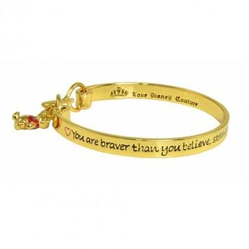 Gold Plated Braver Than You Believe Winnie The Pooh Bangle From Disney Couture : TruffleShuffle.com