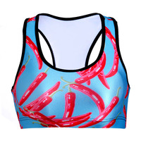 Red Print With Steel Wire Vest Sports Bra [6533682247]