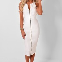 Nicca White Zip Front Midi Dress | Pink Boutique