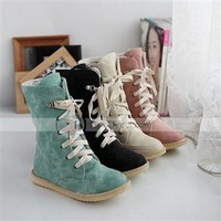 Muuya Round Toe Lace Up Ankle High Cute PU Woman Flat Boots - DinoDirect.com