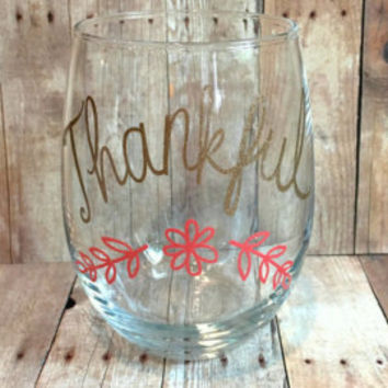Thankful Thanksgiving glitter wine glass