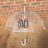 Custom Monogram Clear Umbrella Dome Monogrammed Birthday Gift Valentine Gift Christmas Gift