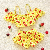 Cherry Print Children Swimsuit
