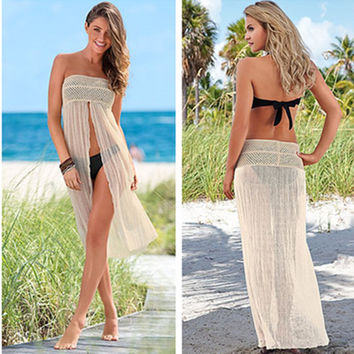 Hot Summer New Arrival Sexy Beach Swimsuit Hollow Out Lace Blouse Stretch Bra Dress Maxi Dress Bikini [4914896772]