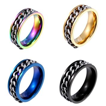 New Design Personality  Luxury Spin Chain Lucky  Ring For Man Stainless Steel Cool Man Woman Fashion Jewelry