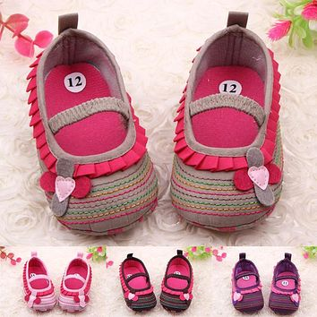 Sweet Newborn Baby Girl Flower Ruffled Shoes Toddler Soft Bottom Crib Walk Shoes