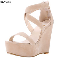 zapatos mujer women Yellow White Pink Red Wedding Shoes Open Toe Cross Tied Ankle Strappy Platform Wedge High Heel Sandals 41 42