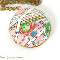 Fenway Park Boston Map Necklace, Vintage Locket, Brass Chain, Large Locket, Baseball Sadium - Ready to Ship