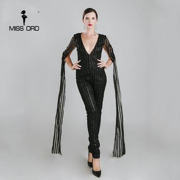 Missord 2017 Sexy Deep-V cut out long sleeve black color glitter sequin jumpsuit FT4682-2
