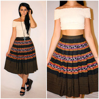 Vintage 50s TRIBAL A-Line Skirt, RARE Ikat Print Mexican Acapulco High Waisted Striped Charcoal Circle Swing Skirt, Size Xs